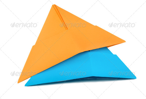 Orange and blue paper hat - Stock Photo - Images