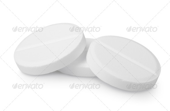 Three tablets aspirin isolated - Stock Photo - Images