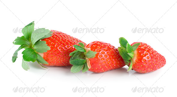 Three strawberries - Stock Photo - Images