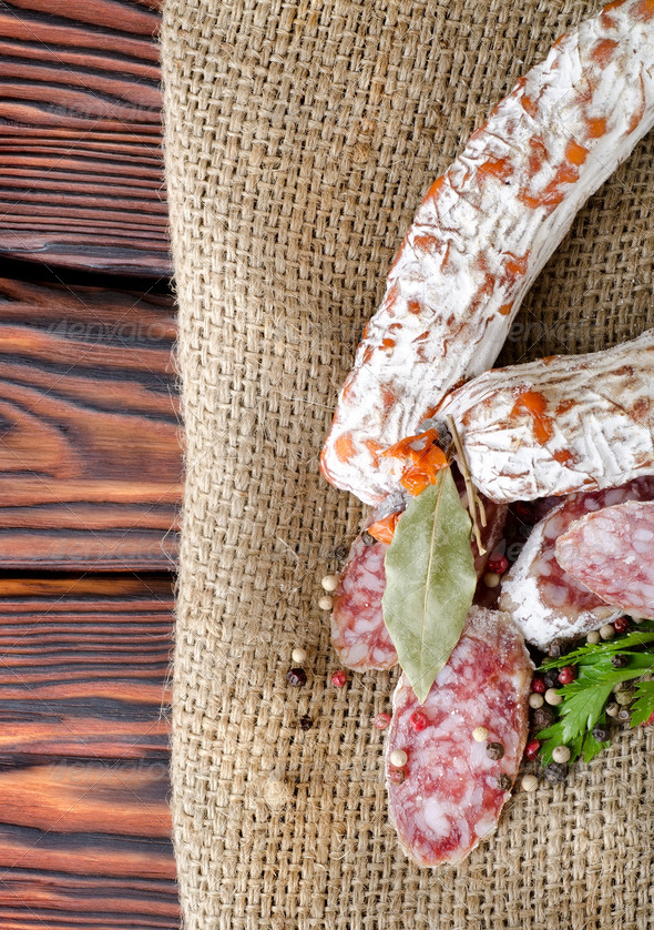 Salami sausage and spices - Stock Photo - Images