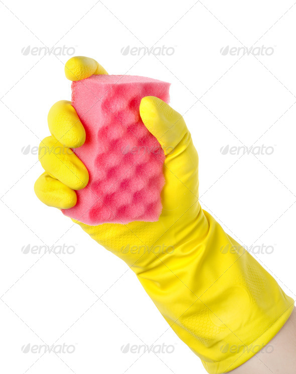 Yellow cleaning glove - Stock Photo - Images