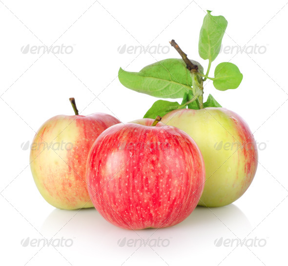 Three ripe apples isolated - Stock Photo - Images