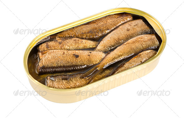 Sprat fish canned isolated - Stock Photo - Images