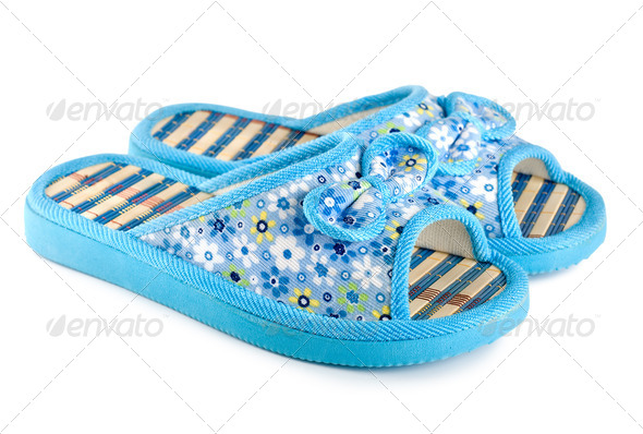 Blue slippers isolated - Stock Photo - Images