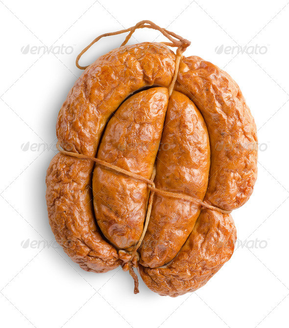 Smoked bunch sausage isolated - Stock Photo - Images