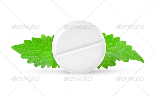 Aspirin with mint - Stock Photo - Images