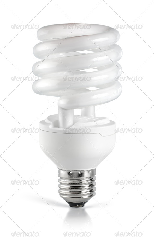 Energy saving  fluorescent lightbulb - Stock Photo - Images
