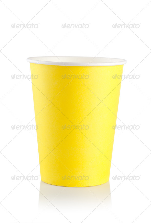 Yellow disposable cup - Stock Photo - Images