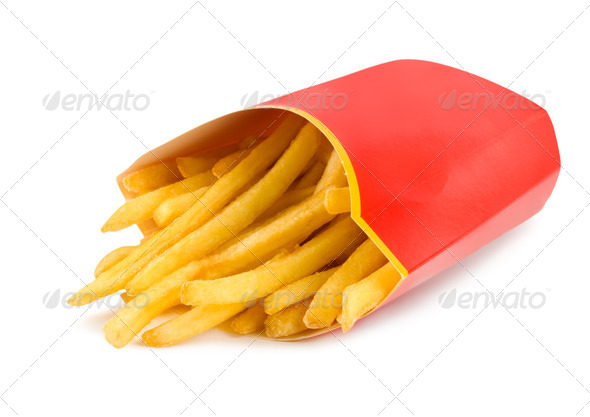 French fries in a red carton box isolated - Stock Photo - Images