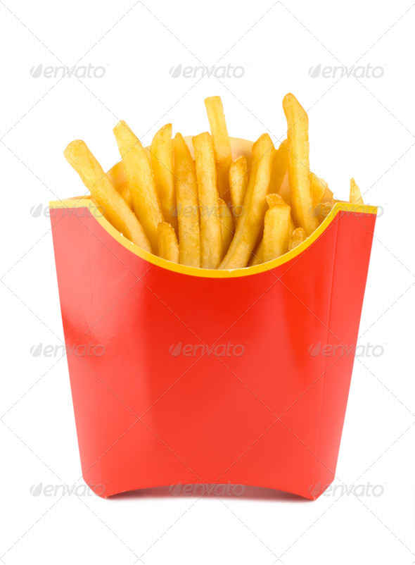 Fried potatoes in a red box - Stock Photo - Images