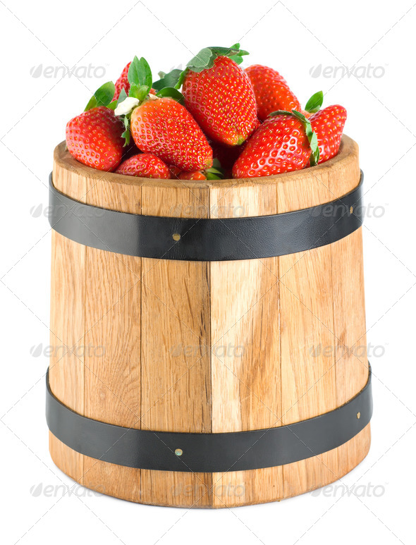 Wooden barrel with strawberries - Stock Photo - Images