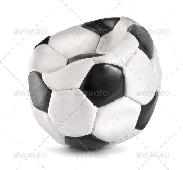 Deflated soccer ball isolated - Stock Photo - Images