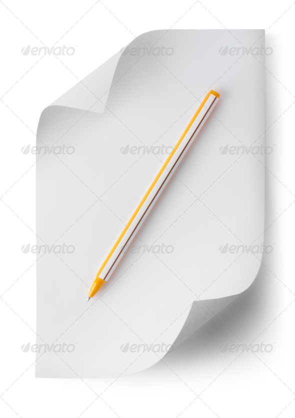 Pen with a sheet of paper - Stock Photo - Images
