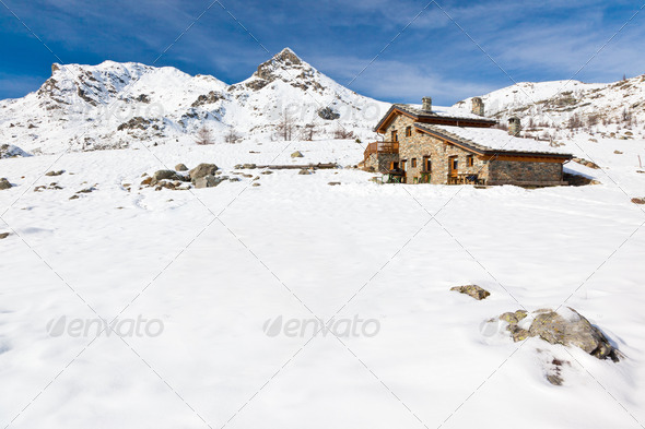 Mountain hut - Stock Photo - Images