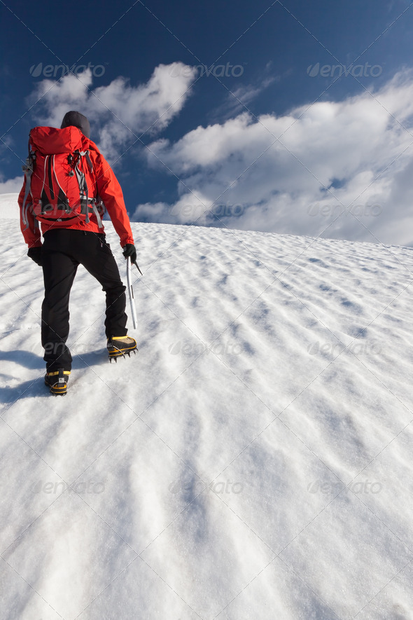 Mountaineer alone glacier - Stock Photo - Images