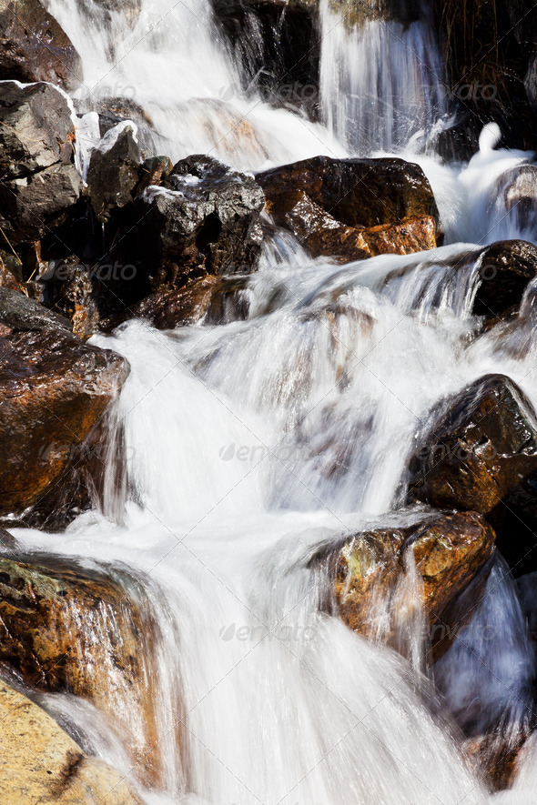 Small mountain torrent with clear fresh water - Stock Photo - Images