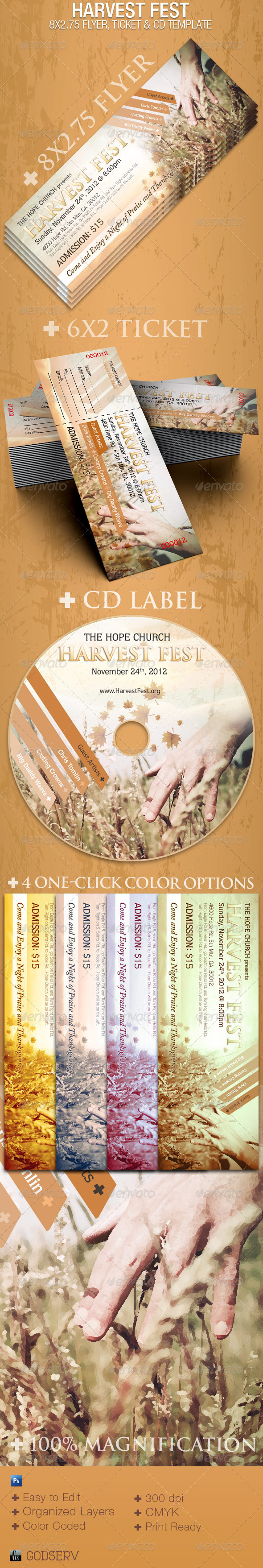Harvest Fest Flyer CD Ticket Template - Church Flyers