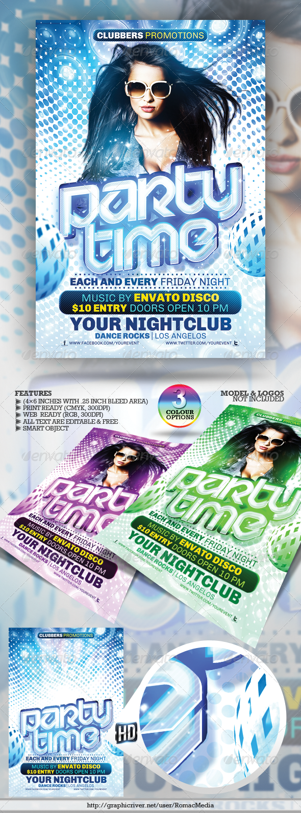Club Sessions l Party Time Flyer - Clubs & Parties Events