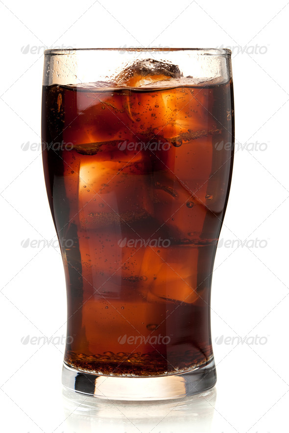 Glass of cola with ice - Stock Photo - Images