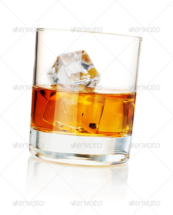 Whiskey with ice cubes - Stock Photo - Images
