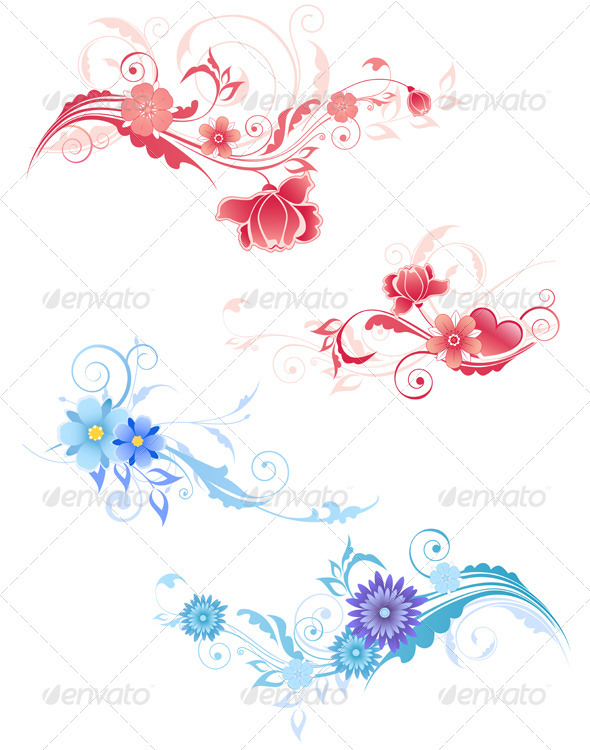 Decorative Flowers - Flourishes / Swirls Decorative