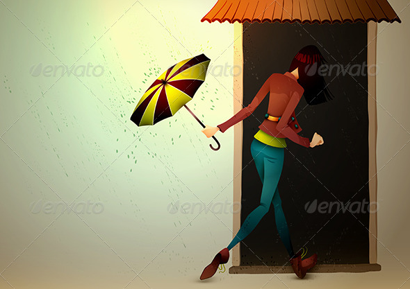 Young Woman hiding from Rain with Umbrella - People Characters