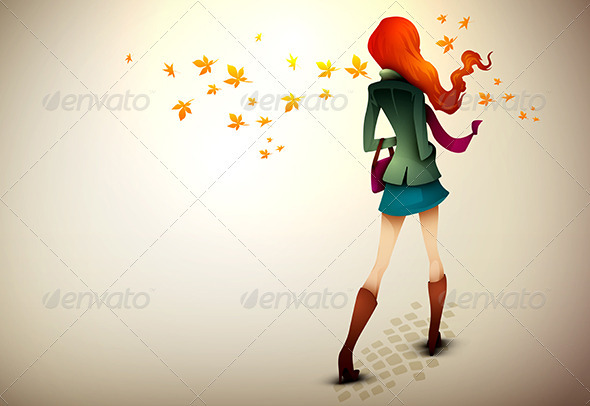 Autumn Background | Young Woman in wind - People Characters