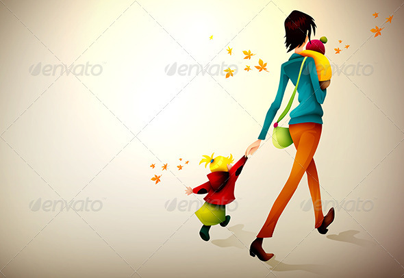 Woman Waking Hurried With Her Children - People Characters