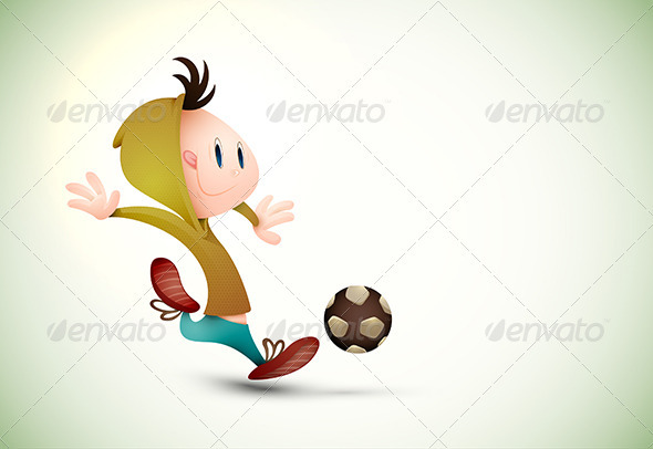 Child Soccer Player Playing Football - Sports/Activity Conceptual