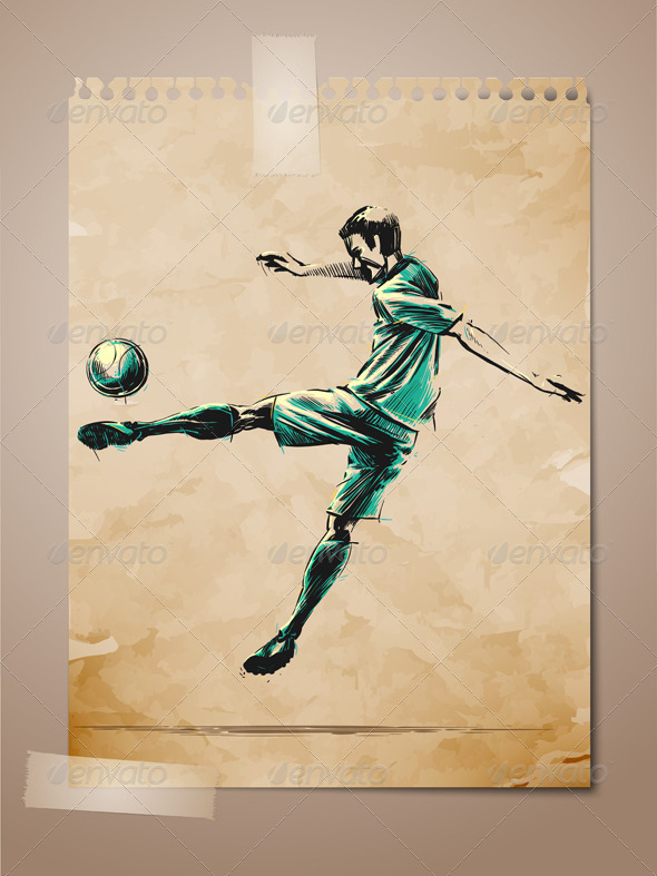 Football, Soccer Player Sketch on Aged Note Paper - Sports/Activity Conceptual