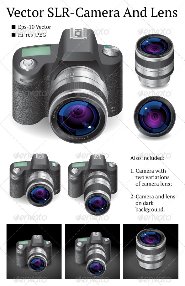 Vector SLR-Camera And Lens - Objects Vectors
