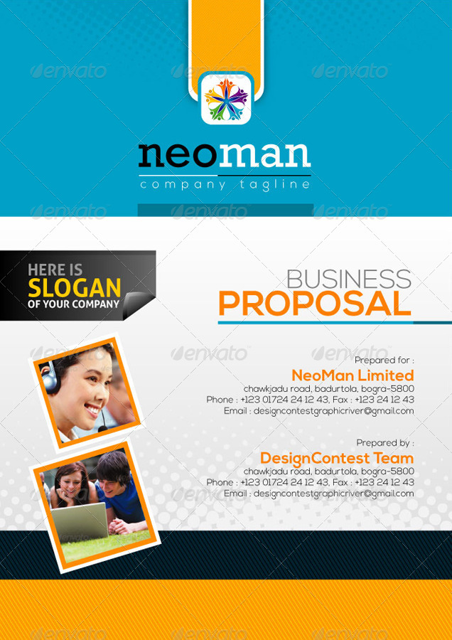 NeoMan BusinessProject Proposal by ContestDesign – Proposal Cover Page Design