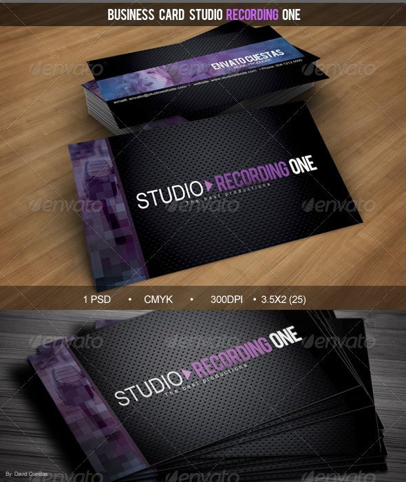 Business Card Studio Recording One - Corporate Business Cards