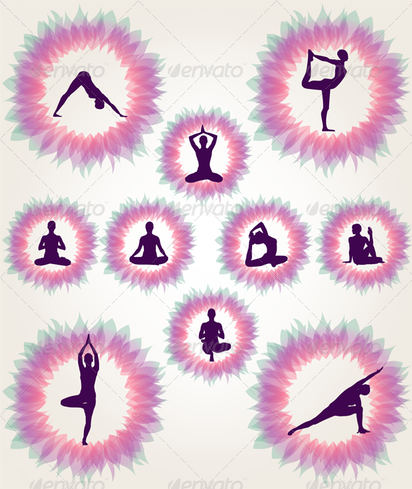 Floral Yoga Illustration Set - Decorative Symbols Decorative