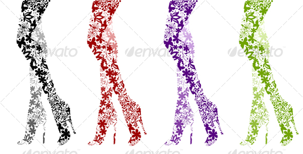 Glamour Fashion Legs on White - Decorative Symbols Decorative