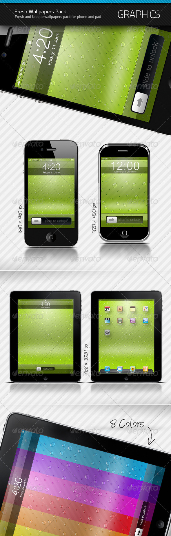 Phone and Pad Fresh Wallpapers Pack - Backgrounds Graphics