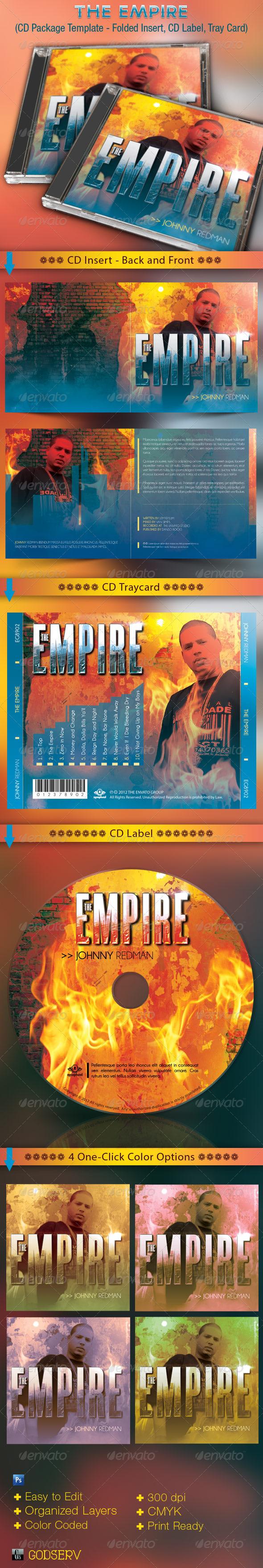 Empire CD Cover Artwork Template - CD & DVD Artwork Print Templates