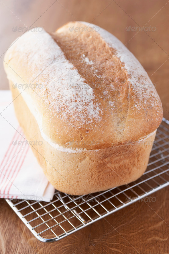 Fresh Bread Loaf Cooling On Wire Rack - Stock Photo - Images