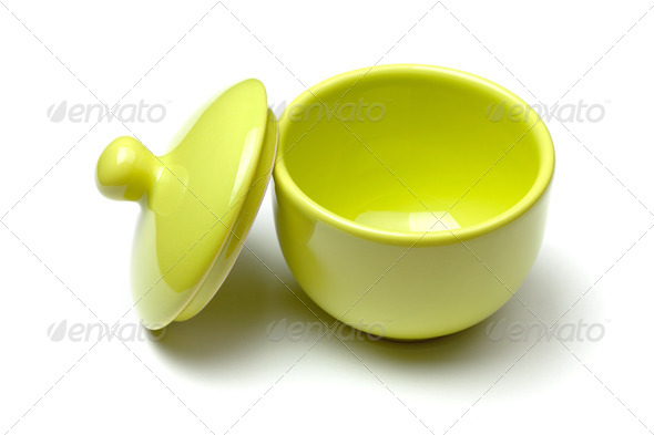 Green china soup dishware - Stock Photo - Images
