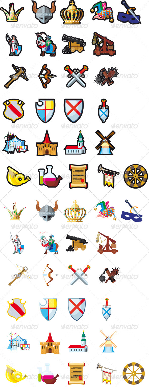 Set of medieval icons - Miscellaneous Vectors