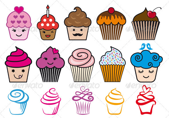 Cupcake Design Vector : Cupcake Designs, Vector Set by amourfou GraphicRiver