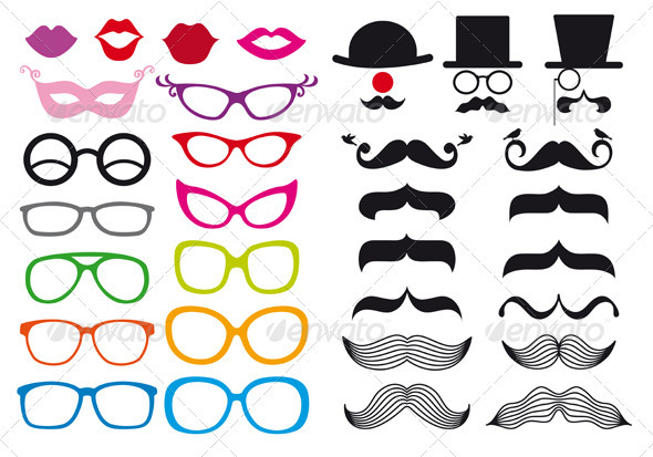 Mustache And Spectacles, Vector Set - People Characters