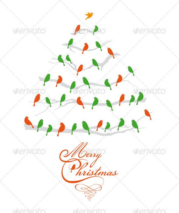 Christmas Tree With Birds, Vector - Christmas Seasons/Holidays