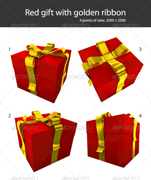 Red Gift With Yellow Ribbon - Objects 3D Renders