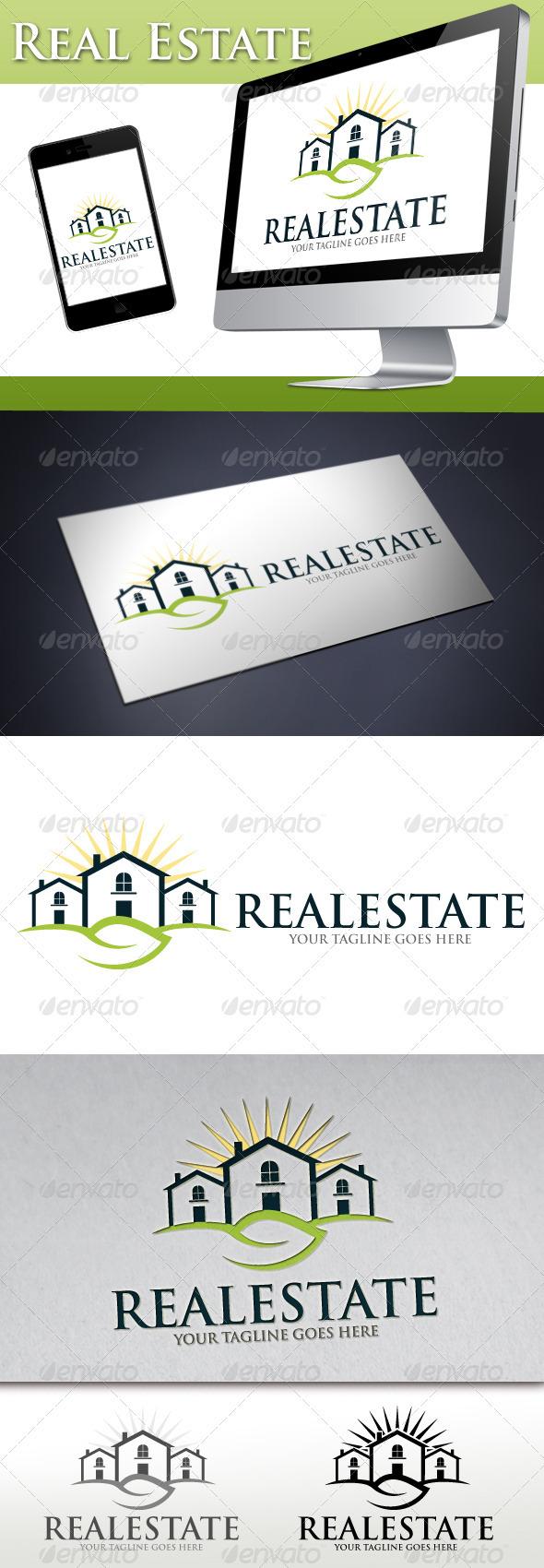 Real Estate Natural House Logo - Buildings Logo Templates