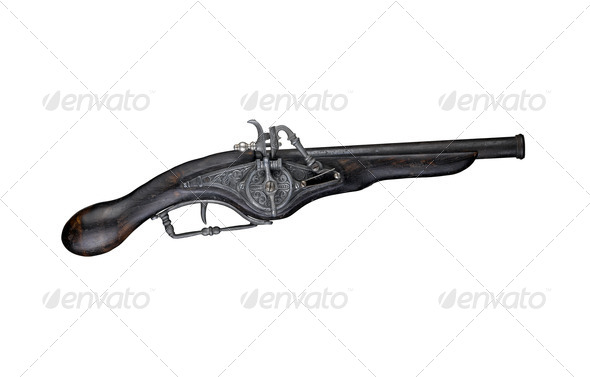An antique dueling pistol isolated on white - Stock Photo - Images