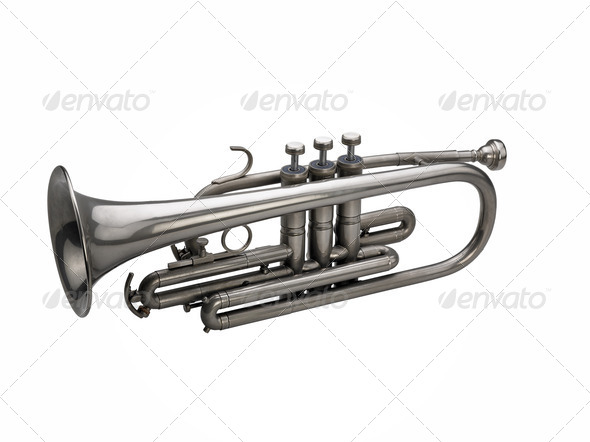 Silver trumpet isolated on white background - Stock Photo - Images