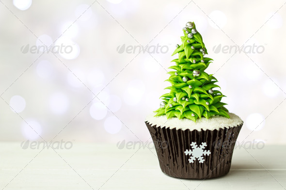 Christmas tree cupcake - Stock Photo - Images