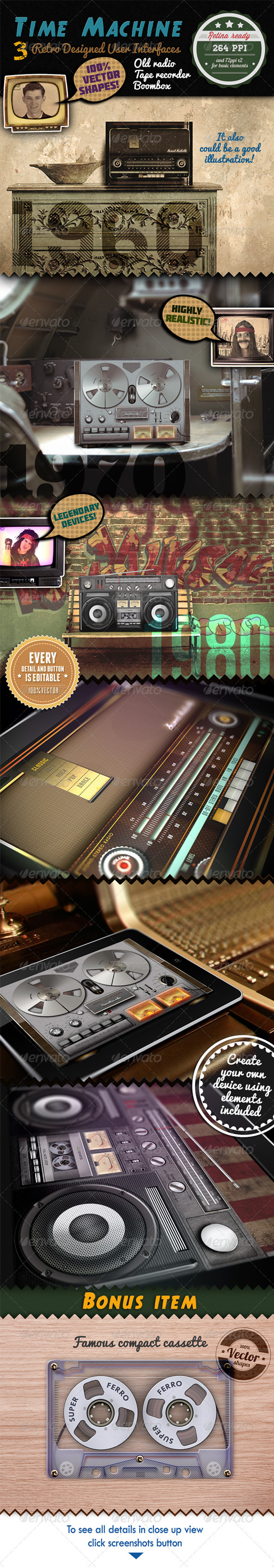 3 Devices Retro Audio Retina Ready GUI Pack - User Interfaces Web Elements