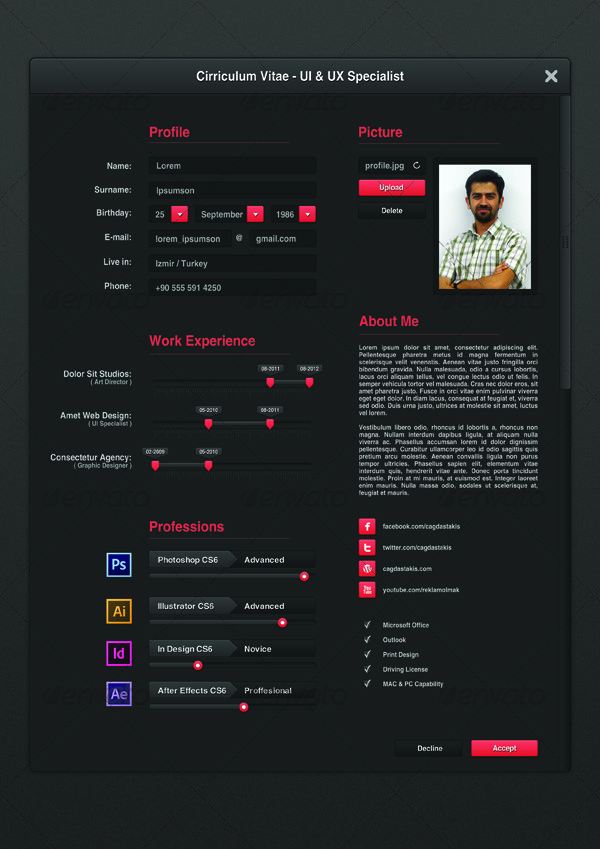 UI Designer Resume by cagdastakis